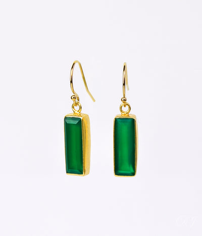 Green Onyx Bar Earrings : May Birthstone : Adira Series