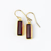 Garnet Bar Earrings : January Birthstone : Adira Series