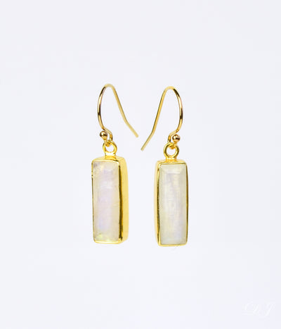 Adira Rainbow Moonstone Bar Drop Earrings