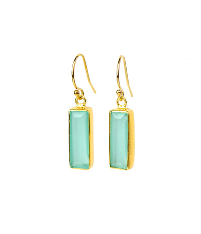 Adira Aqua Chalcedony Bar Drop Earrings