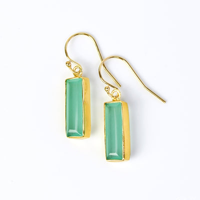 Aqua Chalcedony Bar Earrings : March Birthstone : Adira Series
