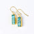 Copper Turquoise Bar Earrings : December Birthstone : Adira Series