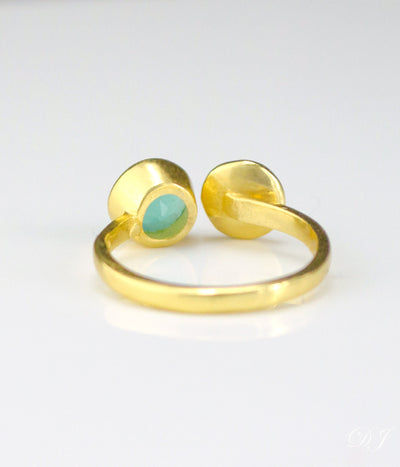 Custom Initial Adjustable Aqua Chalcedony Ring, March Birthstone