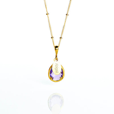 June Birthstone & Name Necklace : Alexandrite