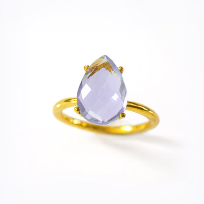 Alexandrite Teardrop Prong Set Ring : June Birthstone