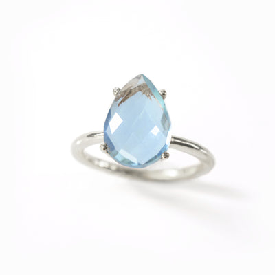 Blue Topaz Teardrop Prong Set Ring - December Birthstone