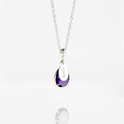 February Birthstone & Name Necklace : Purple Amethyst