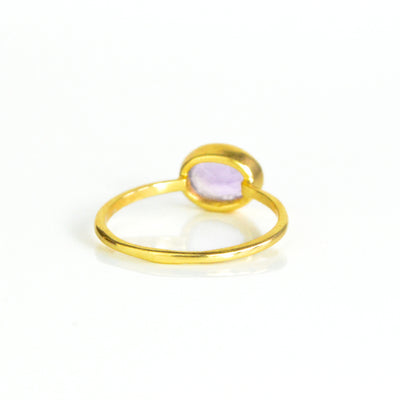 Small Oval Purple Amethyst Ring : February Birthstone