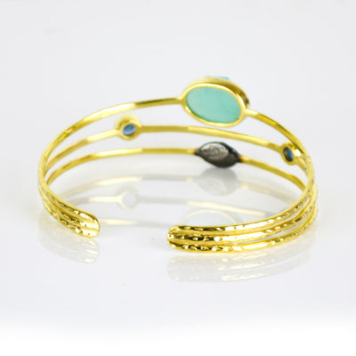 Rough Cut Aqua Chalcedony Open Bangle with Kyanite Quartz Details