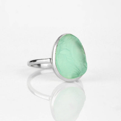 Rough Cut Aqua Chalcedony Ring