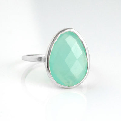 Large Aquamarine Chalcedony Teardrop Ring