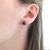Tiny March Birthstone Stud Earrings Set With Round Aqua Chalcedony