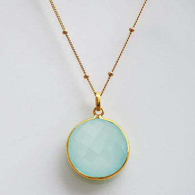 Large Round Aqua Chalcedony Necklace - March Birthstone