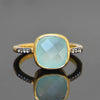 Aqua Chalcedony White Topaz Pave cushion cut ring - March Birthstone