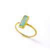 Tiny Aqua Chalcedony Bar Ring, March Birthstone Ring