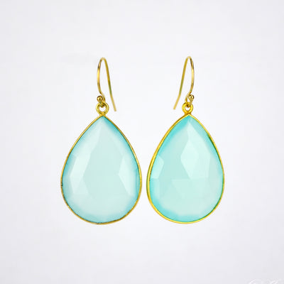 Faceted Aqua Chalcedony Teardrop Bezel Set Earrings - March Birthstone