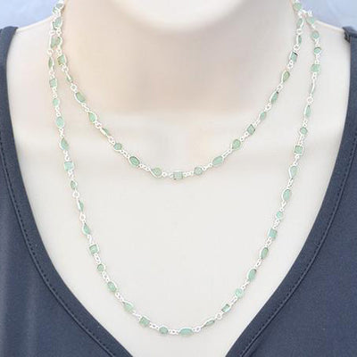 Aqua Chalcedony long  station necklace - March Birthstone