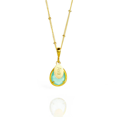 March Birthstone Necklace : Aqua Chalcedony