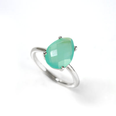 Aqua Chalcedony Teardrop Ring - March Birthstone