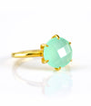 Aqua Chalcedony Round Prong Set Ring - March Birthstone