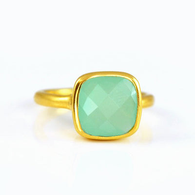 Aqua Chalcedony Cushion Ring - March Birthstone