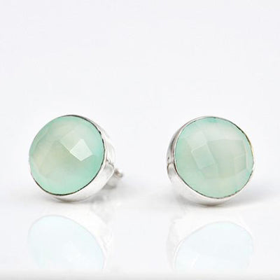 Aqua Chalcedony Bezel Set Stud Earrings - March Birthstone