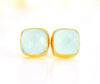 Aqua Chalcedony Cushion Bezel Set Stud Earrings - March Birthstone