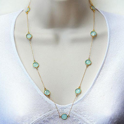 Long Aqua Chalcedony bezel station necklace - March Birthstone