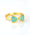 Aqua Chalcedony Adjustable Triangle Ring, Bow Tie Ring