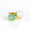 Oval Aqua Chalcedony Ring : March Birthstone