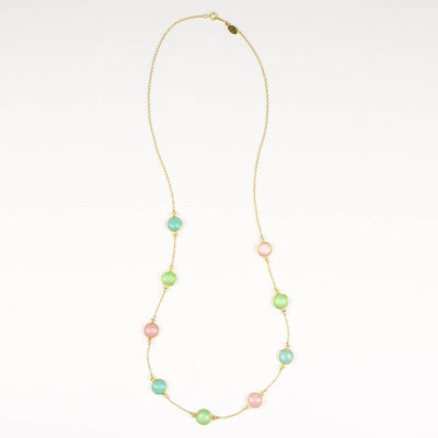 Long Aqua Chalcedony, Green Chalcedony and Pink Chalcedony bezel station necklace