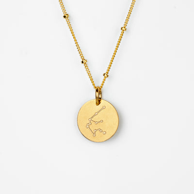 Aquarius Constellation Necklace with Monogram Engraving on Back