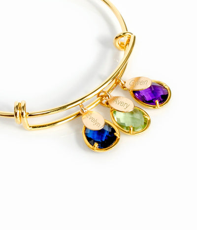 Custom Birthstone & Name Bangle Bracelet