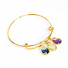 Half Bezel Prong Birthstone Bangle with Oval Name Tags