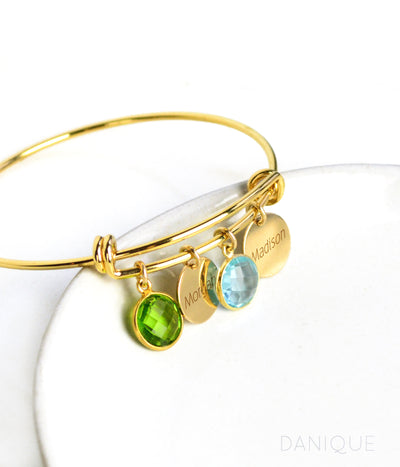 Mother's Birthstone Bangle Bracelet with Round Gemstones and Small Name Disks
