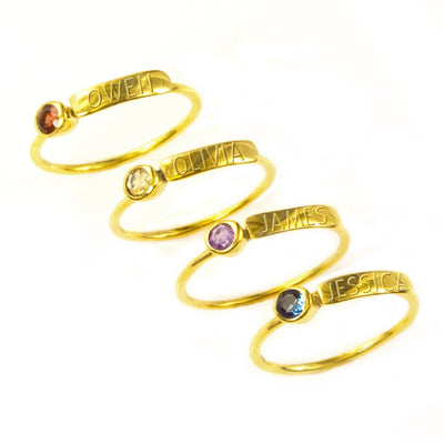 Stacking Birthstone & Name Ring Set for Mom