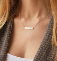 Personalized Horizontal Bar Necklace - Initial Charm Necklace - Available in Rose Gold, Yellow Gold or Sterling Silver