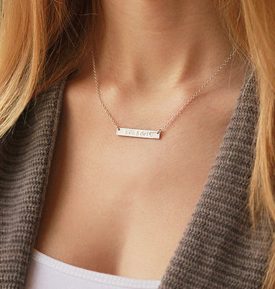 Personalized Horizontal Bar Necklace - Gold, Rose Gold, or Silver
