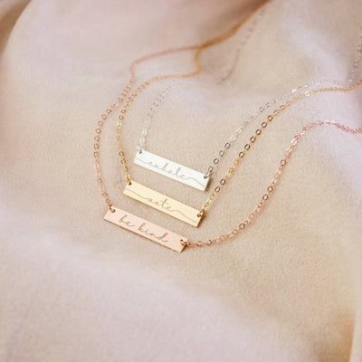 Custom Bar Necklace, Inspirational Word, Minimalist bar necklace