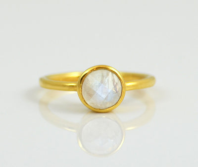 Moonstone Round Bezel Set Faceted Ring - June Birthstone