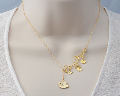 Personalized Mother & baby bird charms necklace