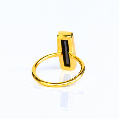 Black Onyx Gemstone Bar Ring, Unique Geometric Ring