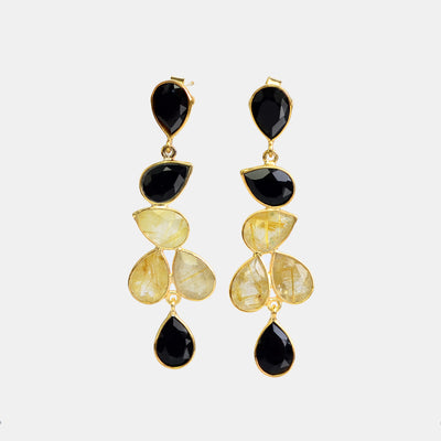 Elegant Black and Gold Rutilated Statement Earrings