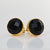 Black Onyx Round Bezel Set Stud Earrings