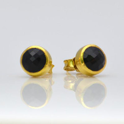 Black Onyx Small Round Bezel Set Stud Earrings - Tiny Stud Earrings
