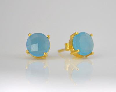Blue Chalcedony  Round Prong Set Stud Earrings