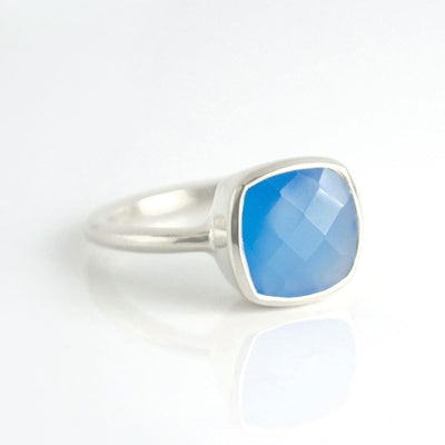 Blue Chalcedony CushionBezel Ring