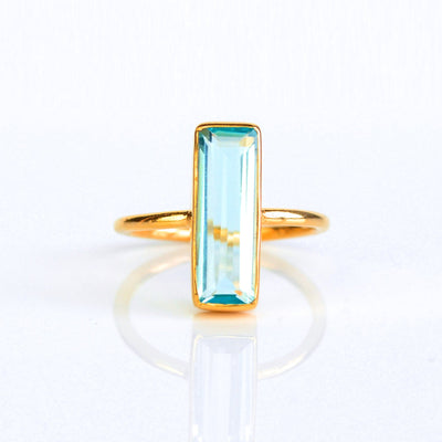 Sky Blue Topaz Bar Ring : December Birthstone