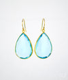 Faceted Blue Topaz Teardrop Bezel Set Earrings, December Birthstone