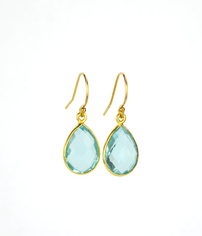 Blue Topaz Small Teardrop Bezel Set Earrings, December Birthstone Earrings